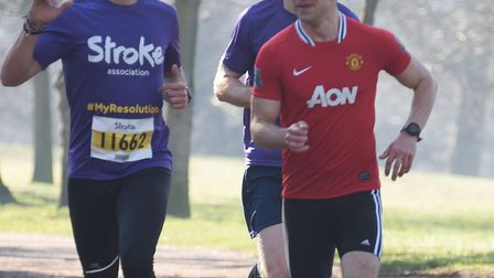 The leaders in the 10K Resolution Run in aid of the Stroke Association at Ipswich's Christchurch Par