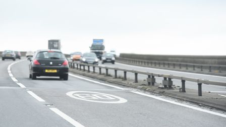The incident happened on the Orwell Bridge in the early hours of the morning Picture: LUCY TAYLOR