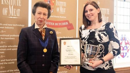 Best Independent Retailer Meat Apprentice 2018, Sally Capstick with Princess Anne. Picture: COURTESY
