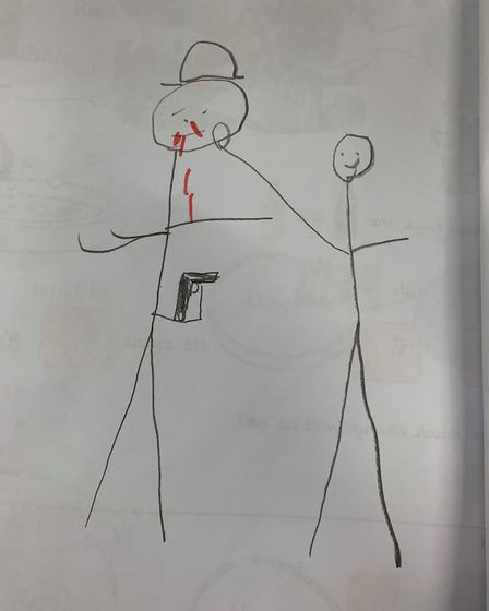 �A picture of a 'nasty person punching Daddy�'s nose' drawn by Pc Overton's son� Picture: ANDREW OVE