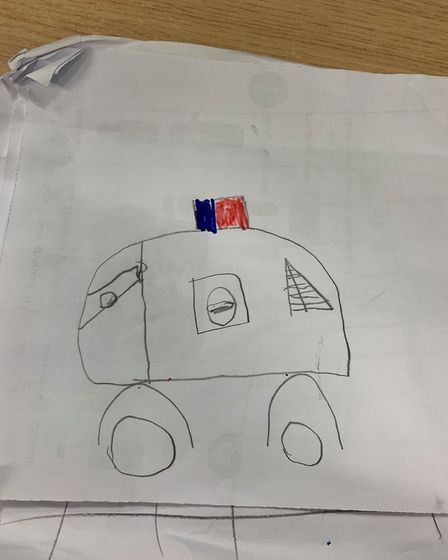'Dad in his police car', as drawn by Pc Overton's son Picture: ANDREW OVERTON