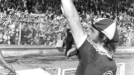 Kevin Beattie waves to the crowd at Wembley in 1978 Picture: ARCHANT