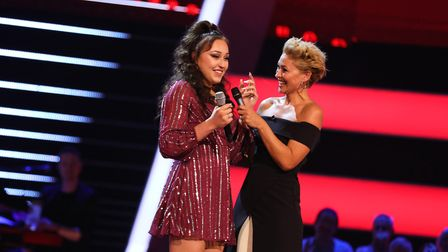 Connie Lamb with The Voice UK host Emma Willis Picture: ITV