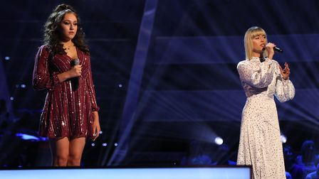 Connie Lamb on stage with Mollie Hocking on The Voice UK Picture: ITV