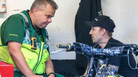 Paramedic Jason Gillingham with Danny King ahead of the Witches skipper pulling out of a meeting las
