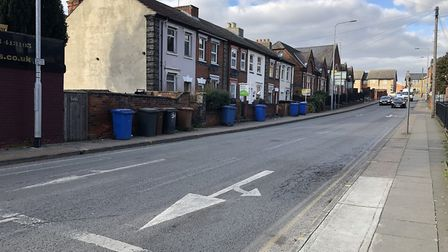 The road markings on Argyle Street in Ipswich have been repainted in the left-hand lane to make the