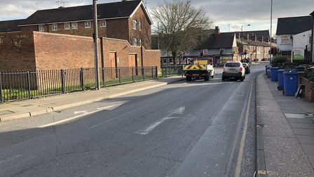 After turning in from Woodbridge Road, the single lane still becomes two lanes, but both now go ahea