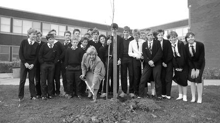 Did you attend this tree planting at Stoke High School, Ipswich, in November 1986? Picture: PAUL NIX