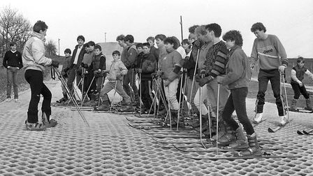 Stoke High School pupils were at the Wherstead ski slope in March 1986 Picture: TONY RAY