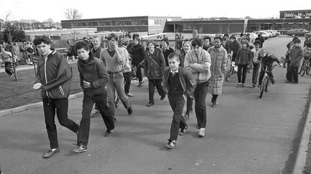 Stoke High School pupils leave at the end of the school day in March 1982 Picture: RICHARD SNASDELL