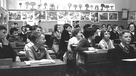 Pupils in a packed class at the original St Matthew's School, Ipswich, in the 1950s Picture: DAVID