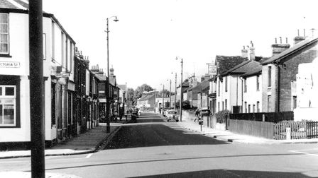 Bramford Road, looking towards Chevallier Street, around 1960. Victoria Street is off to the left.