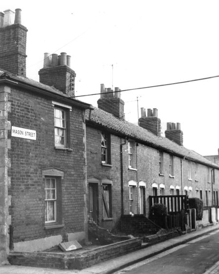 Mason Street, Ipswich, in January 1967. These houses were demolished when the area was redeveloped s