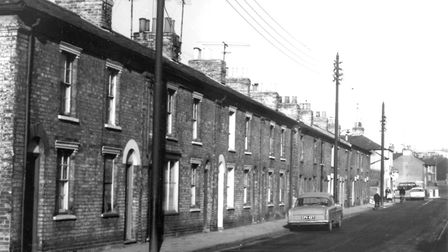 Victoria Street, Ipswich, close to the junction with Bramford Road, in the 1960s. These houses were