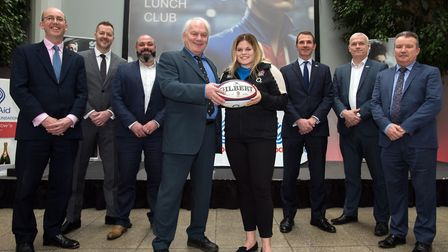 Ipswich Sporting Lunch Club with rugby star Jeff Probyn and sponsors. Jeff Probyn meets local young