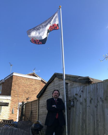 The flag continues to fly at Lee Markwell's family home, in honour of his great great uncle and all