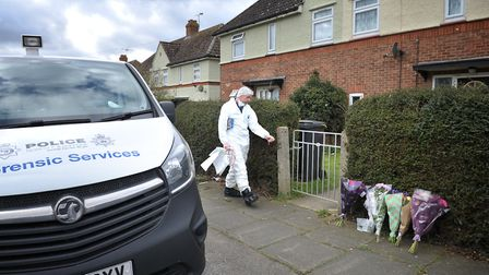 Forensics investigate at the house in Swinburne Road, Ipswich where a woman, believed to Kia Russell