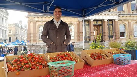 Chris Bavin during filming of BBC1's The One Show on the Cornhill. Picture: RACHEL EDGE
