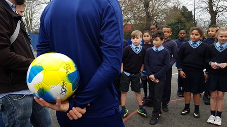 Balls will be handed out to other schools across Ipswich. Picture: RACHEL EDGE