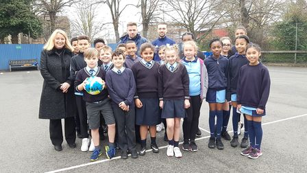 Ipswich Town winger Gwion Edwards with pupils at St Matthew's Primary School. Picture: RACHEL EDGE