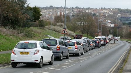 Traffic built up in Ipswich as vehicles were diverted through the town Picture: PETER CUTTS