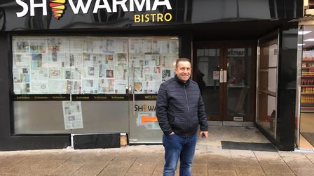 Mohammed Ali outside the Shawarma bistro, which is due to open soon in Westgate Street, Ipswich. Pic