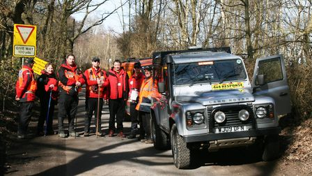 Members of the SULSAR team in Foxhall Woods during the search for Paul Moore. Picture: PAUL GEATER