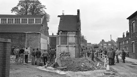 Work in May 1984 to move the frontage of the former Ragged School building back so that Waterworks S