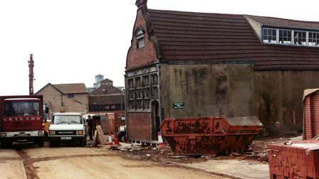 The Ragged School building in April 1984 as preparations were made to move the frontage of the build