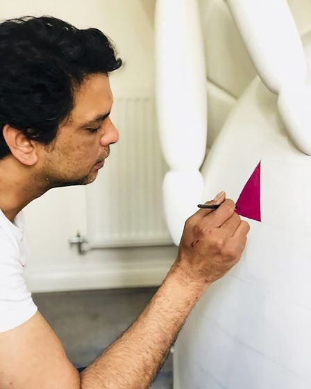 Artist Deven Bhurke has been commissioned to paint Sailmakers' Elmer the Elephant Picture: SUPPLIED