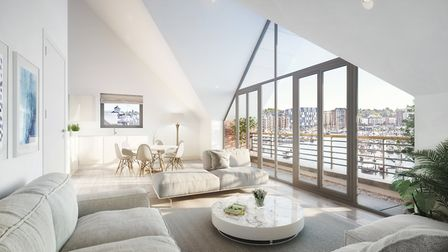 A cgi of the penthouse and view from Q3, the quayside front block of the Winerack development. Pict