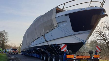 A 25 metre boat will be brought to the Ipswich marina from Cambridge today. Picture: SUFFOLK CONSTAB