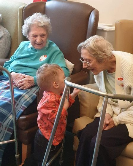 The children aged between three months and four years have loved making friends with residents at fo