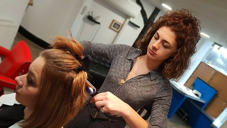 Sophia Capasso working at award winning Renaissance Hair and Beauty in Ipswich. Picture: NEIL PERRY