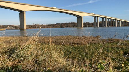 Suffolk police temporarily closed the Orwell Bridge on the A14 this evening following concerns for a