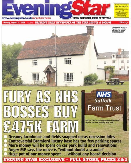 The Evening Star front page in August 2009 when news broke of the site's purchase