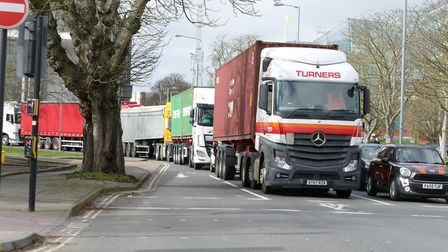 The closure of the Orwell Bridge yesterday caused heavy traffic in Ipswich Picture: PETER CUTTS