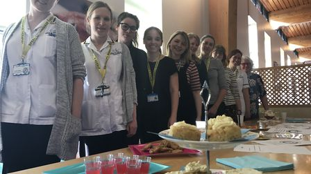 The speech and language therapy team at the Ipswich Hospital with some of the food especially made f