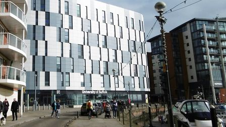 The main waterfront building of the University of Suffolk has been evacuated after a suspicious pack