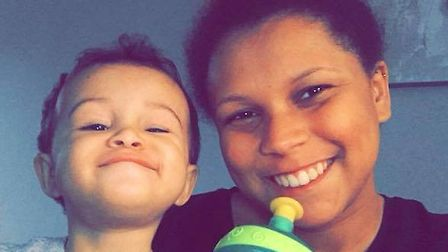 Kia Russell, 19, with son Kamari Russell, two, who were found dead at a house in Swinburne Road, Ips