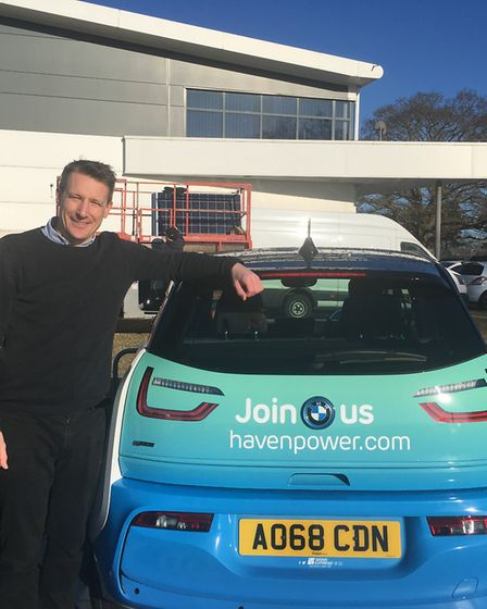 Tim Cole, head of brand and engagement at Haven Power, with one of its battery-powered vehicles Pic