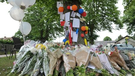 Flowers left as tributes following the death of Tavis Spencer Aitkens Picture: SARAH LUCY BROWN