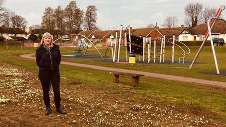 Maureen Gladwell at the St Augustine's recreation ground where thousands of crocus bulbs have been p