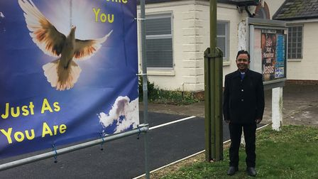 Rev Peterson Anand at the Nansen Road Baptist Church Picture: ANDREW HIRST
