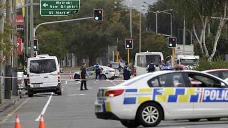 Police block the road near the shooting at a mosque in Linwood, Christchurch, New Zealand. Multiple