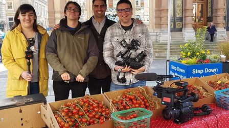 Chris Bavin (second right) with his crew from The One Show on the Cornhill. Picture: RACHEL EDGE