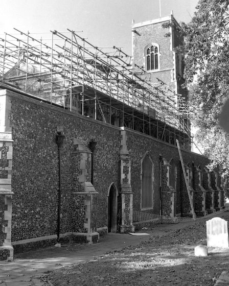 A temporary roof was built over St Clements Church following the fire of September 1995. Picture: OW