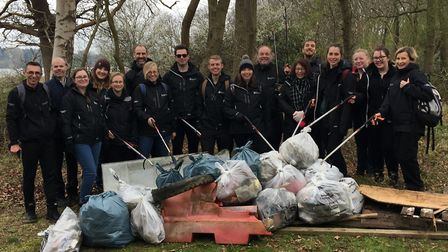 A large group of volunteers picked up the rubbish and filled several large bags. Picture: ENVIRONMEN