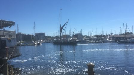 Glorious Ipswich Waterfront, the sailing barge Victor heads out on a river Orwell cruise Picture: D
