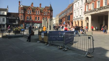 The temporary barriers are still in place at the Cornhill in Ipswich. Picture: PAUL GEATER
